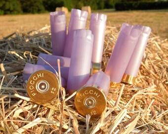 Shotgun shells  Lavender / violet / light purple /purple...Manufacturer's ink removed/polished/once fired FIOCCHI 12 gauge (10 size lot)