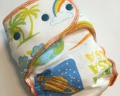 Nasa space Florida hybrid fitted cloth diaper -- one size OS -- FDR - (SG)