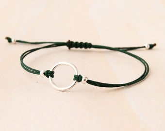Silver circle bracelet, good karma bracelet, circle bracelet