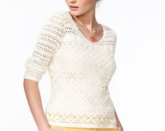 Crochet sweater PATTERN, detailed  tutorial for every row + HQ charts, trendy crochet sweater pattern,   sweater pattern