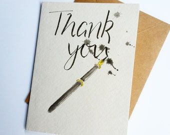 Thank You Card, ink pen.  Calligraphy, writer. Blank