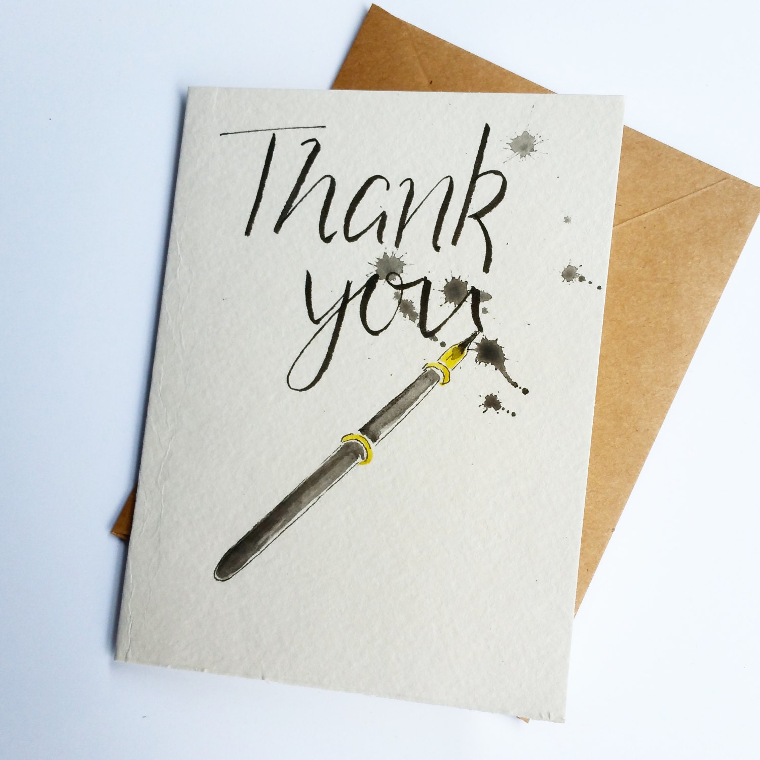 Thank You Card Set Of 5 Ink Pen Calligraphy Writer Blank