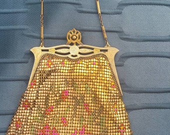1920's Whiting and Davis Floral  Metal Mesh Purse