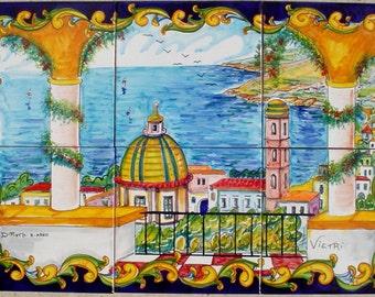 Hand Painted Ceramic Tile Mosaic - Baroque Style Vietri Sul Mare - Decorative Wall Tile Backsplash - Ceramic Tile Art