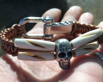 Handmade Mens Skull and crossbones Leather Bovine Bone Goth Pirate Shackle Bracelet Jewelry