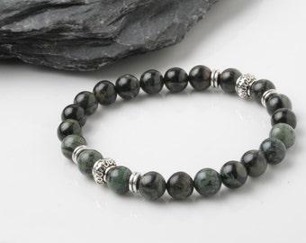 Kambaba jasper Bracelet, M'ens beaded bracelet, Mala Bracelet, Energy Bracelet, Healing bracelet, Spiritual bracelet, Meditation bracelet