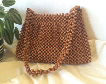 Vintage Beaded Bag, Retro Wooden Beads