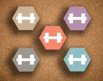 Hexagon Dumbbell Icon Fitness, Workout, Weightlifting Planner Stickers for Inkwell Press Planner IWP-HST1