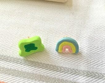 Lucky charm clovers and rainbow marshmallow earrings!