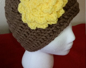 50% off sale! Women's Brown Beanie, Stylish Beanie, Teen Hat, Teen Beanie, Hat, Women's Hat, Brown Beanie, Beanie with Flower, Flower Beanie