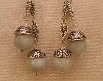 Handmade Beaded Blue Aquamarine Earings
