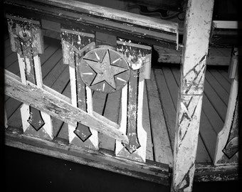 Star | 30cm x 30cm Fine Art Photographic Print, Black & White, Abandoned, Decay, Funfair, Seaside, Texture, Scotland