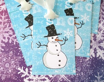 Christmas Tags-Snowman with Snowflake-Set of 6