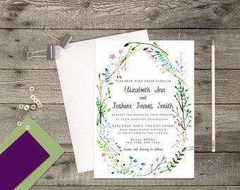 Floral Watercolor Wreath Modern Calligraphy Wedding Invitation Printable // Reply Postcard Insert Card Save the Date // 5x7 Invitation