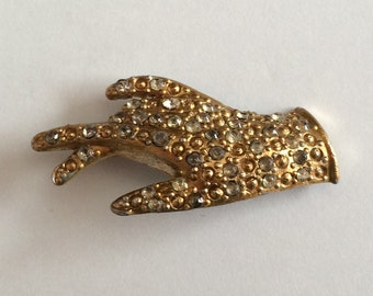 Vintage Pot Metal Rhinestone Stone Gloved Hand Ladies Brooch Pin