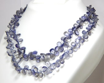 Iolite Faceted Teardrop Beads Pear Shape 100% Natural Gemstone / Size 10.5x6 To 6x4 mm Approx Code - 1017