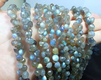 55 Percent OFF Labradorite Blue Flash Faceted Beads Onion Shape 100% Natural Gemstone Size 7x5.mm Approx Code - 0116