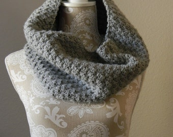 Grey Cowl Scarf Crocheted