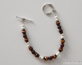 Brown and White Bracelet, Gemstone and Glass Bracelet