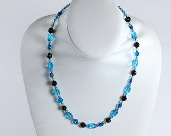 Indigo and Purple Colored Necklace, Sky Blue and Purple Necklace