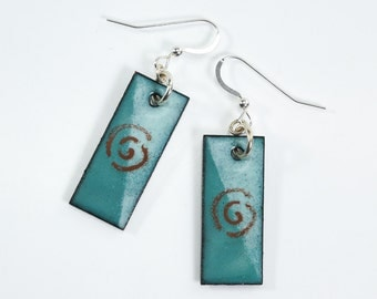 Metal Enamel Earrings Silver Filled Sea Green and Brown Earrings Copper Metal Earrings
