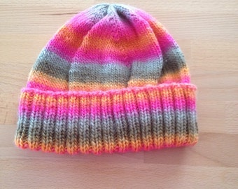 Hand knitted adult beanie