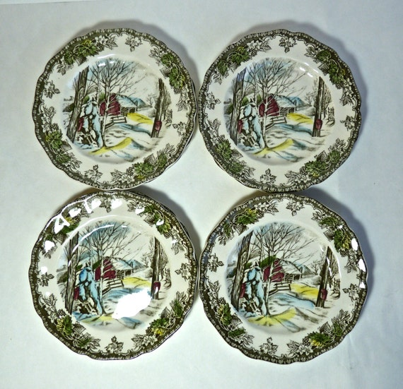 JOHNSON BROTHERS BREAD Plates, Dessert Or Sandwich Plates ~ Great For Christmas Dining ~ 8 Plates ~ Vintage 1950s ~ Mint Condition