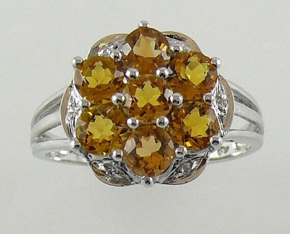 Citrine Yellow Ring 1.54ct - 14k White Gold with Diamonds 0.01ct