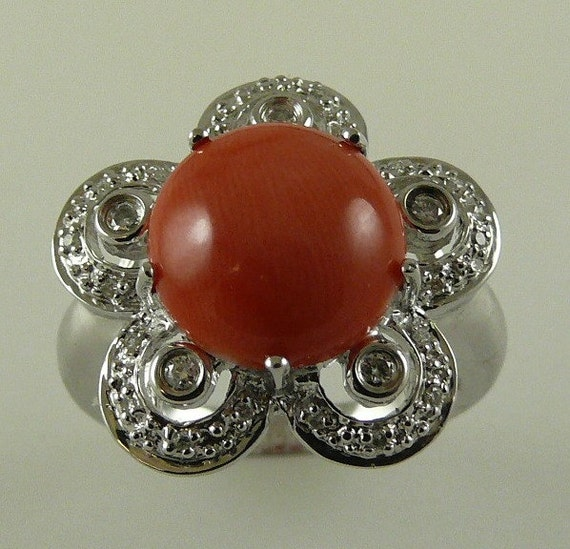 Italian Coral 11 mm Ring with Diamonds 0.13ct 14k White Gold