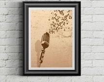 Vintage Microphone Prints,Music Posters,Vintage Speaker,Fine Art Painting,Home Decor,Music Prints