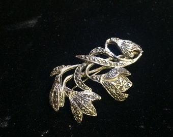 Marquisite flower brooch