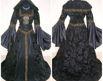 Medieval dress costume S-M 10-12-14 gothic dress witch tudor dress handfasting wicca carnival celtic vampire wedding game of thrones LOTR