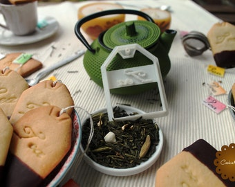 Tea Bag Cookie Cutter , Cookie cutter with the word Tea and the shape of a tea bag, Tea lover gift, special item for tea lovers, tea time