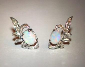 Antique Vintage 14k White Gold Handmade earrings