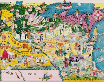 Map Of Minnesota Etsy - Map of minnesota and wisconsin
