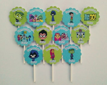 12 Personalized double sided Teen Titans Go cupcake toppers birthday party favors