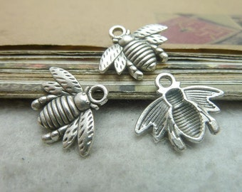 10 Bee Charms, Antique Silver Tone (1G-66)