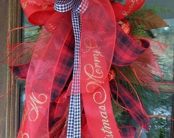 Christmas holiday door swag, doorhanger swag, holiday decor, holiday wreath