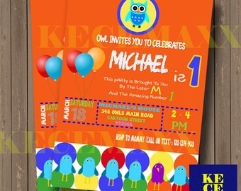 Owl Birthday Invitation,Owl Birthday,Owl,Invitation,Party,Kids,Orange,Birds,Rainbow,Baloon,Birthday Card,Owls,Color,Animal,Kecemaxx