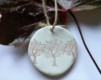 Autumn Trees Hanging Wall Clay Decoration, Shabby Chic Gift, Fall Decor