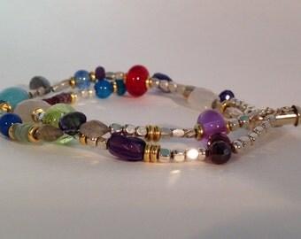 Delicaet Stone, Silver & Lampwork Glass Double-Strand Bracelet
