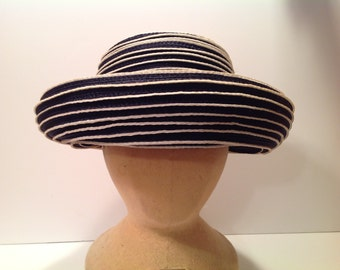 Vintage Christian Dior Navy blue & white straw hat
