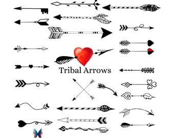 Tribal Arrow Clipart and Vectors - Hand Drawn Arrow Clip Art. Arrows. Unlimited Commercial Use.