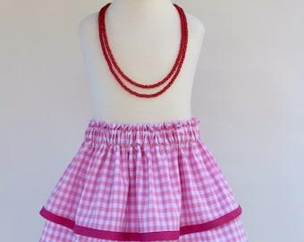 Pink gingham skirt, gingham skirt, toddler skirt, girl skirt, baby skirt, kid skirt, children skirt, summer skirt, spring skirt, play skirt