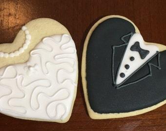 1 dozen Bride & Groom Hearts