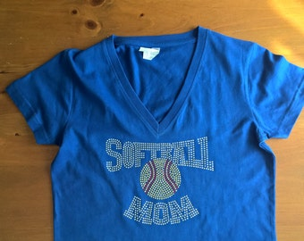 "S A L E ! Rhinestone Bling ""SOFTBALL MOM""  Blue Large V-Neck T-Shirt"