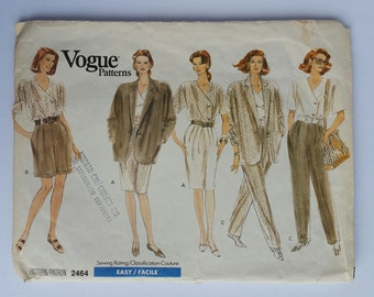 Vintage Vogue 2464 Pattern Jacket Top Skirt shorts and Pants
