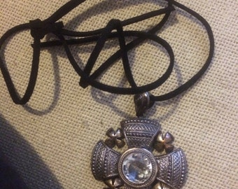 Ilaria's Gorgeous Silver and Glass Stone Medieval Byzantine Cross Pendant
