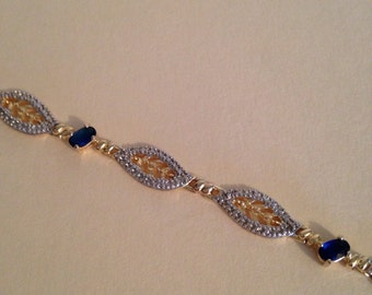 Sterling Silver and Gold Vermeil Bracelet 925 DL with Blue Sapphires