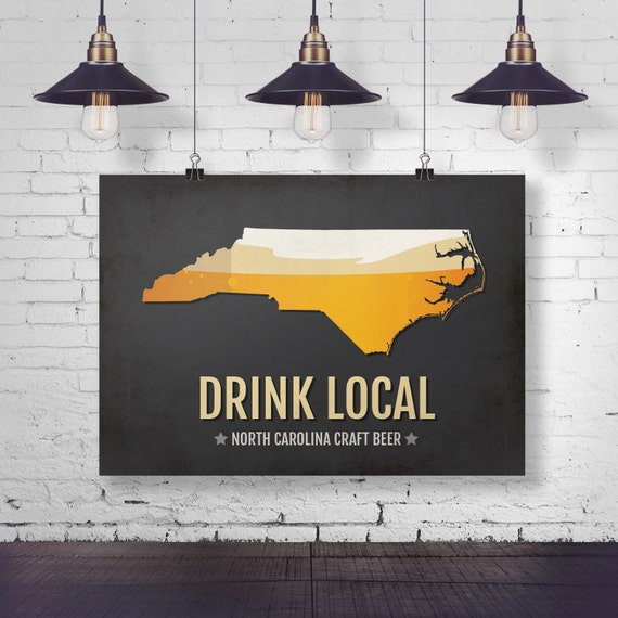 north carolina beer print map nc drink local craft beer sign